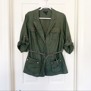 Lane Bryant Linen Cotton Safari Jacket Green Sz 16